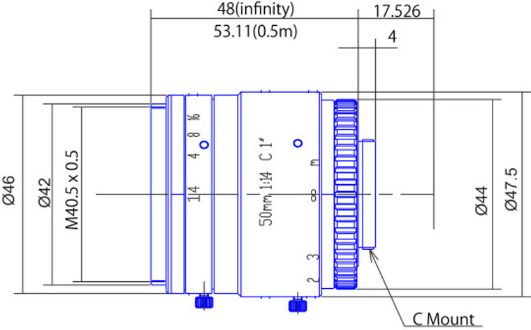 "Goyo Optical GMTHR45014MCN 1"" 50mm F1.4 Manual Iris C-Mount Lens, 3 Megapixel Rated"