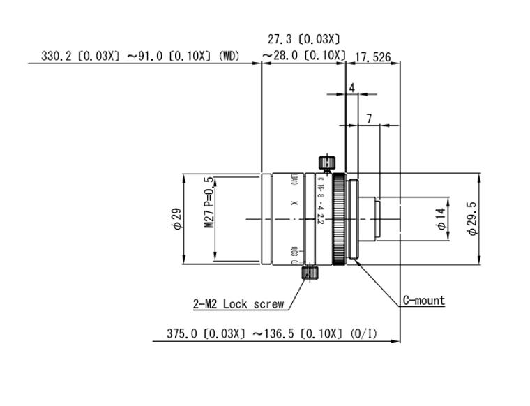 "VS Technology VS-LDA10 1/2"" 10mm F2.2 Manual Iris & Focus Distortionless Macro C-Mount Lens, 3 Megapixel Rated"