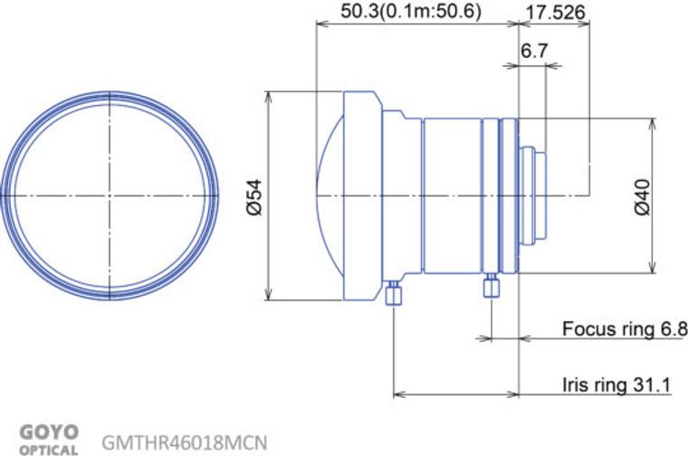 "Goyo Optical GMTHR46014MCN 1"" 6mm F1.8 Manual Iris C-Mount Lens, 3 Megapixel Rated"