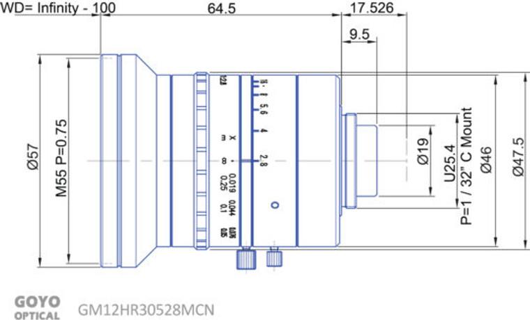 "Goyo Optical GM12HR30528MCN 2/3"" 5mm F2.8 Manual Iris C-Mount Lens, 12 Megapixel Rated"