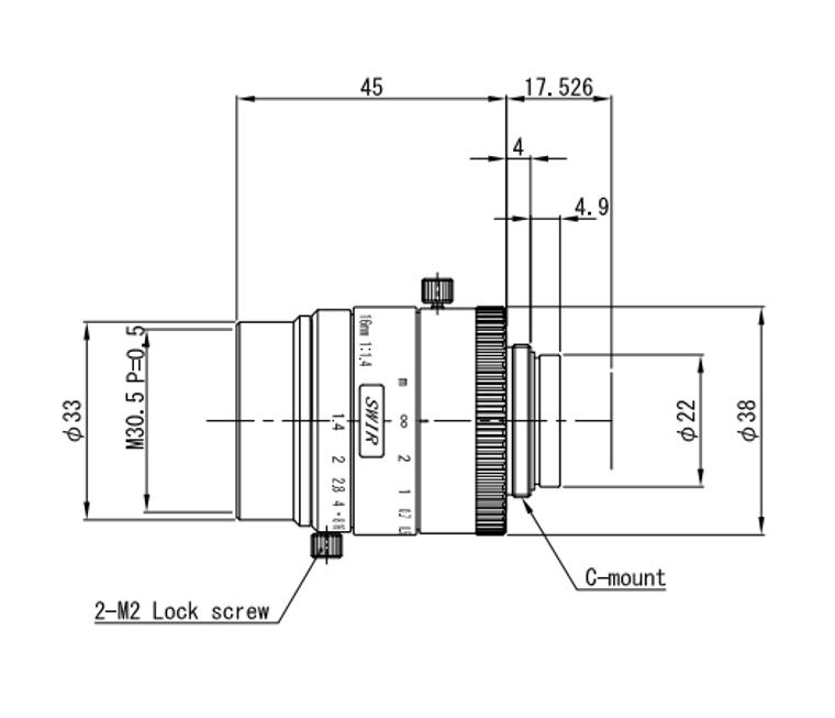 "VS Technology VS-1614H1N-SWIR 1"" 16mm F1.4 Manual Iris C-Mount Lens, 5 Megapixel Rated, SWIR Type (700-2000nm)"
