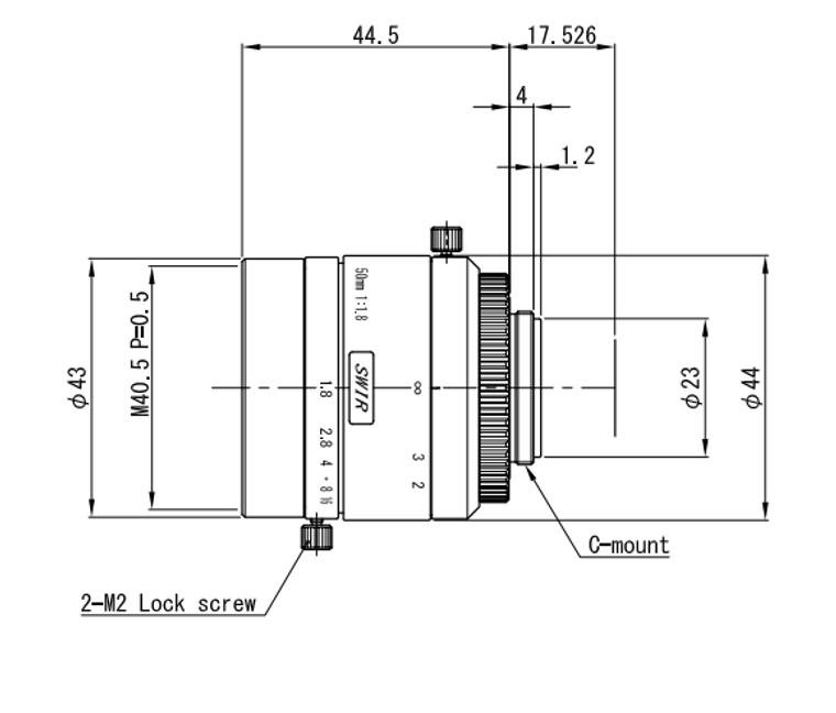 "VS Technology VS-5018H1-SWIR 1"" 50mm F1.8 Manual Iris C-Mount Lens, 5 Megapixel Rated, SWIR Type (700-2000nm)"