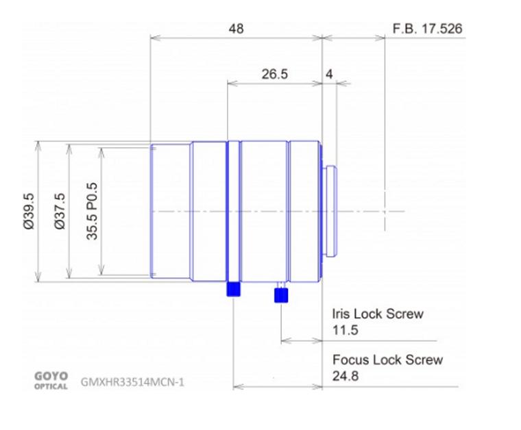 "Goyo Optical GMXHR33514MCN-1 2/3""35mm F2.0 Manual Iris C-Mount Lens, M35.5 x P0.5 Filter Thread, 3 Megapixel Rated"