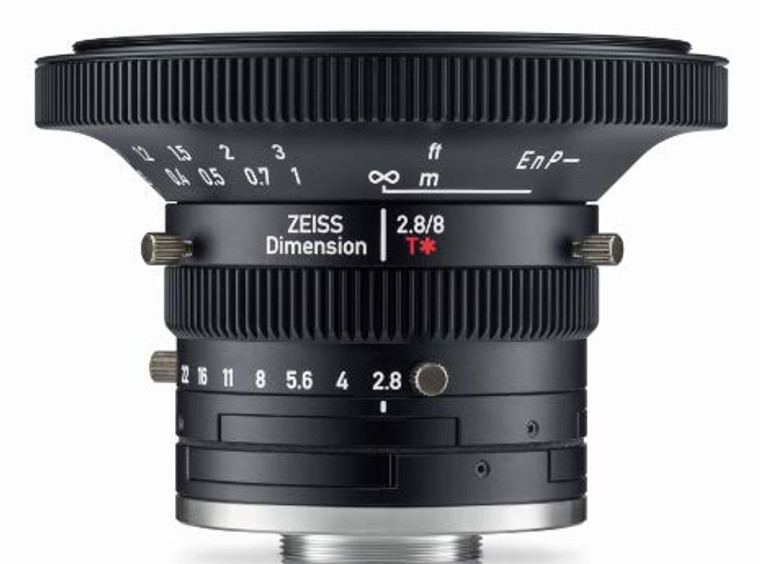 """Zeiss Dimension 2.8/8 4/3"""" 8mm F2.8 Manual Focus & Iris C-Mount Lens, Compact and Ruggedized Design, Visible and Near IR Optimized"""