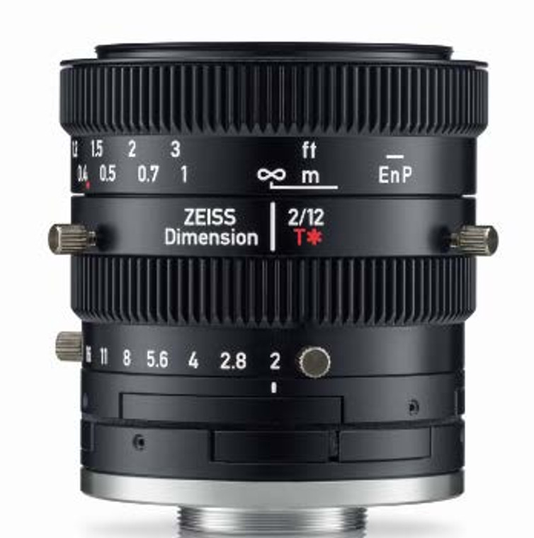 """Zeiss Dimension 2/12 4/3"""" 12mm F2.0 Manual Focus & Iris C-Mount Lens, Compact and Ruggedized Design, Visible and Near IR Optimized"""