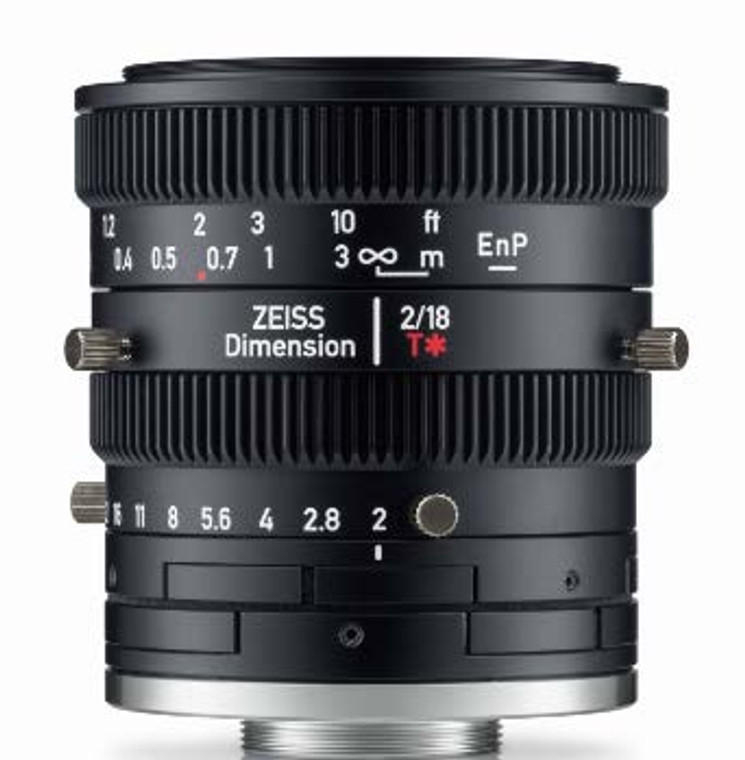 """Zeiss Dimension 2/18 4/3"""" 18mm F2.0 Manual Focus & Iris C-Mount Lens, Compact and Ruggedized Design, Visible and Near IR Optimized"""