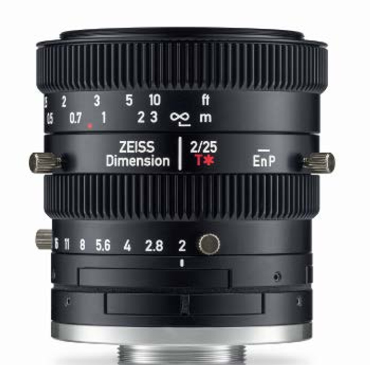 """Zeiss Dimension 2/25 4/3"""" 25mm F2.0 Manual Focus & Iris C-Mount Lens, Compact and Ruggedized Design, Visible and Near IR Optimized"""