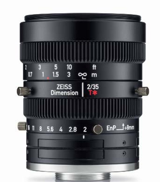 """Zeiss Dimension 2/35 4/3"""" 35mm F2.0 Manual Focus & Iris C-Mount Lens, Compact and Ruggedized Design, Visible and Near IR Optimized"""