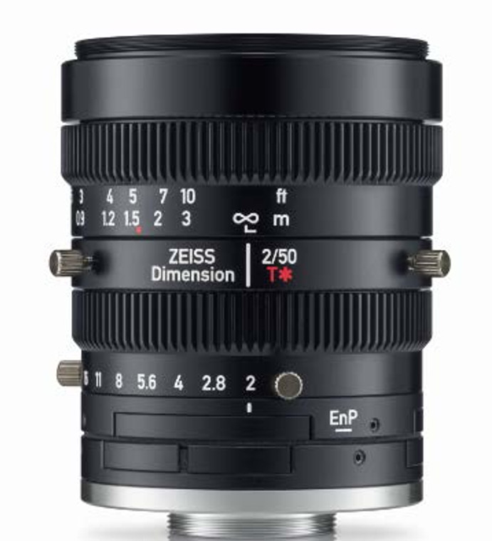 """Zeiss 4/3"""" 50mm F2.0 Manual Focus & Iris C-Mount Lens, Compact and Ruggedized Design, Visible and Near IR Optimized"""