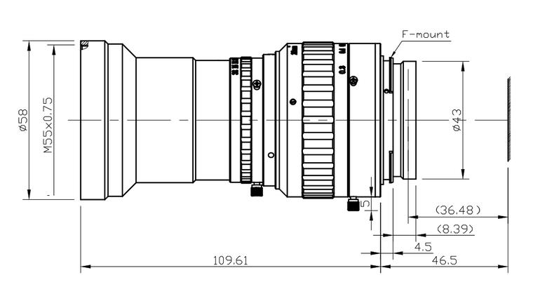AZURE Photonics AZURE-2428TLS 24mm F2.8 Manual Iris F-Mount (Nikon Mount) Lens for 3-CCD/3CMOS Type Cameras, 30mm Format, 4K Resolution Compatible