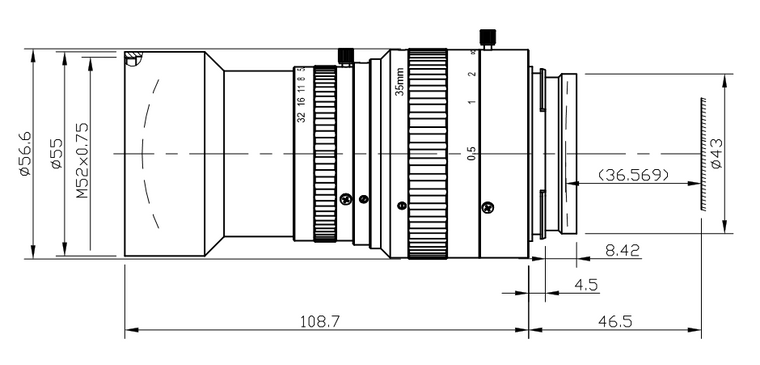 AZURE Photonics AZURE-3528TLS  35mm F2.8 Manual Iris F-Mount (Nikon Mount) Lens for 3-CCD/3CMOS Type Cameras, 30mm Format, 4K Resolution Compatible