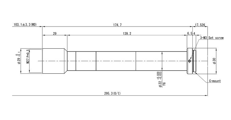 "VS Technology VS-TCH3-100 2/3"" Telecentric C-Mount Lens, 3.0X, WD=100mm, 2 Megapixel Rated"