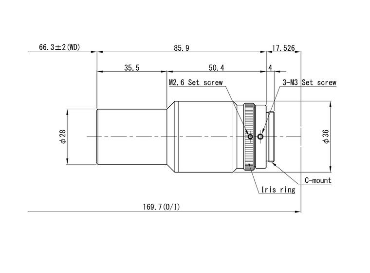 "VS Technology VS-TCM075-65/S 1/2"" Telecentric C-Mount Lens, 0.75X, WD=65mm, 5 Megapixel Rated"