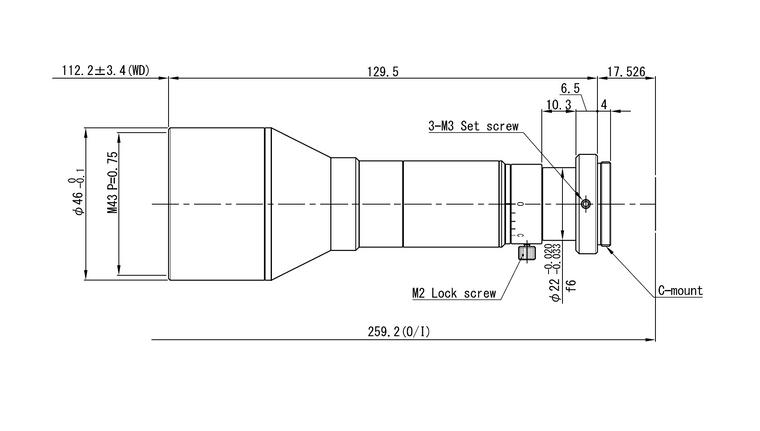 "VS Technology VS-THV05-110/S 1"" Telecentric C-Mount Lens, 0.5X, WD=110mm, 5 Megapixel Rated"