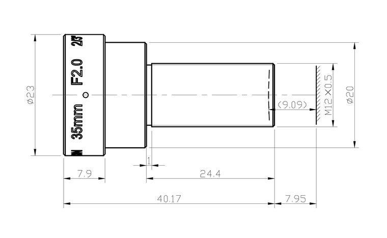 "Azure Photonics AZURE-DN3520FM 2/3"" 35mm F2.0 Fixed Iris M12 (S-Mount) Lens, 10 Megapixel Rated, Far Field (0.3m to Infinity W.D.), Day/ Night"