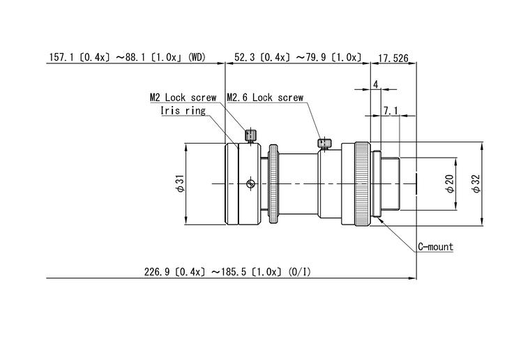 "VS Technology VS-MC0510S-UV  1/2"" 0.4X-1.0X Macro with Manual Focus & Iris C-Mount Lens, UV Type (365nm)"