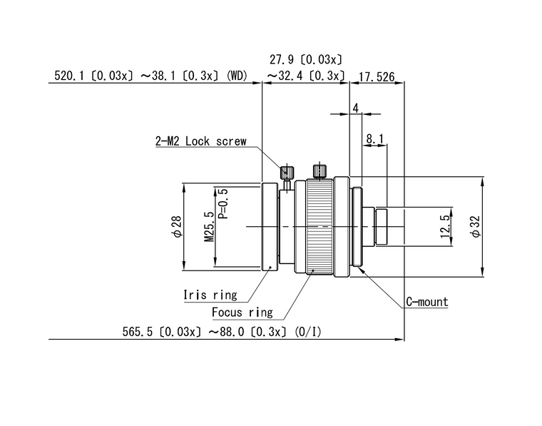 "VS Technology VS-MC00303NS-UV 1/2"" 0.03X-0.3X Macro with Manual Focus & Iris C-Mount Lens, UV Type (365nm)"