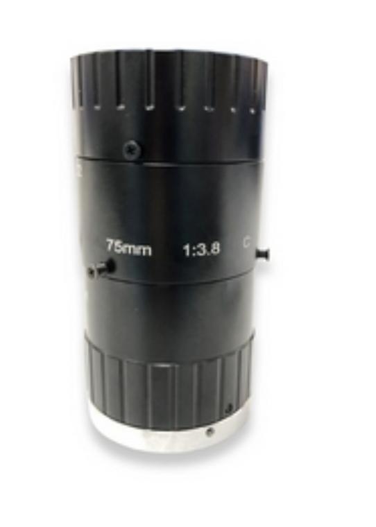 "AZURE Photonics AZURE-NV7536M6M 1/1.2"" 75mm F3.6 Manual Iris C-Mount Lens, 6 Megapixel Rated, Optimized for Close-Up Imaging (200-400mm Object Distance)"