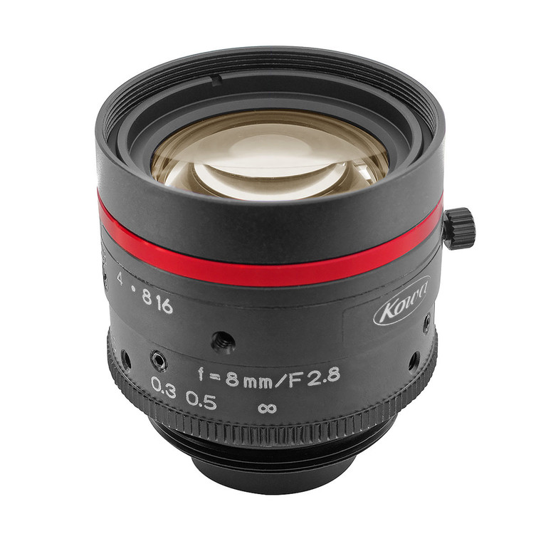 "Kowa LM8JC5MC  2/3"" 8mm F2.8 Manual Iris C-Mount Lens, Compact & Ruggedized Design, 5 Megapixel Rated"