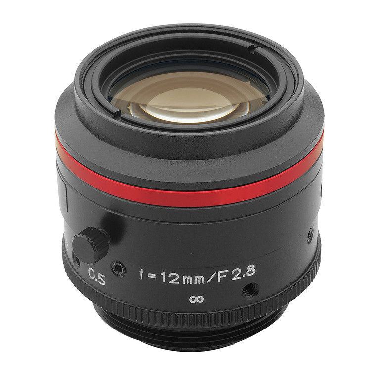 "Kowa LM12JC5MC 2/3"" 12mm F2.8 Manual Iris C-Mount Lens, Compact & Ruggedized Design, 5 Megapixel Rated"