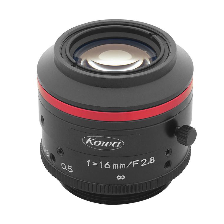 "Kowa LM16JC5MC 2/3"" 16mm F2.8 Manual Iris C-Mount Lens, Compact & Ruggedized Design, 5 Megapixel Rated"
