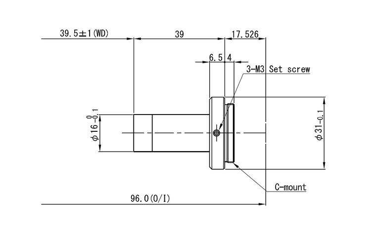 "VS Technology VS-TC2-40 1/2"" Telecentric C-Mount Lens, 2X, WD=40mm, Megapixel Rated"