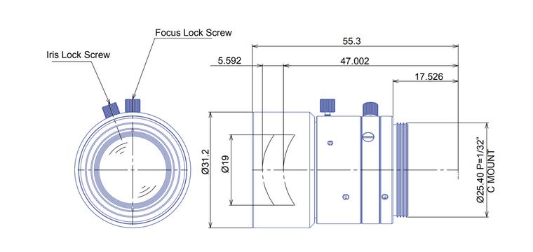"Goyo Optical GM6HR33520MCN-1 2/3"" 35mm F1.4 Manual Iris C-Mount Lens, 6 Megapixel Rated"