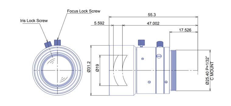 "Goyo Optical GM6HR35028MCN-1 2/3"" 50mm F1.4 Manual Iris C-Mount Lens, 6 Megapixel Rated"