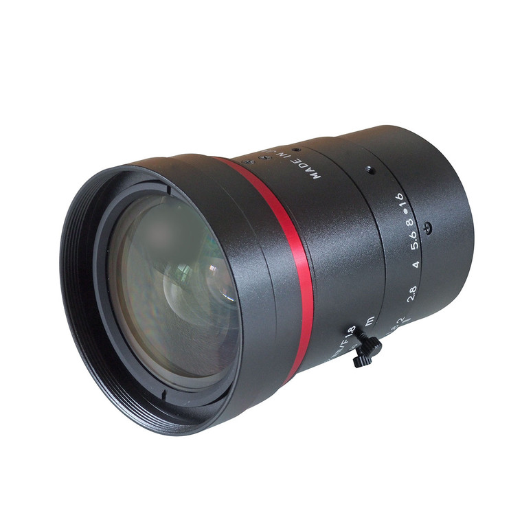 "Kowa LM12FC 1.1"" 12mm F1.8 Manual Iris C-Mount Lens, Low Distortion, Wide-Band Coating For NIR Sensitivity, 12 Megapixel Rated"