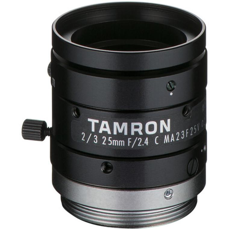 "Tamron MA23F25V 2/3"" 25mm F2.4 Manual Iris C-Mount Lens, Compact Design, 8 MP Rated"