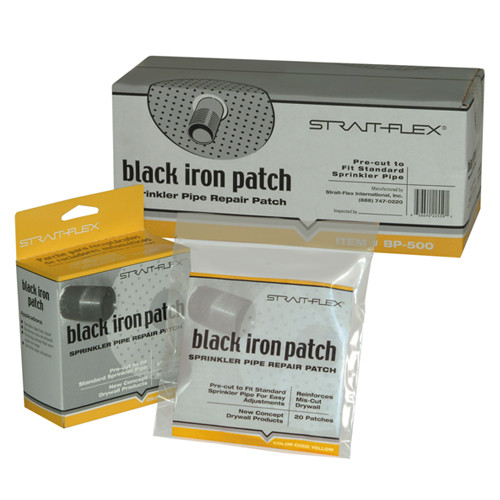 StraitFlex Black Iron Patch/Sprinkler Pipe Patch - 100 Pk, Case of 5 Bags of 20 (STRA-BP-100-B)