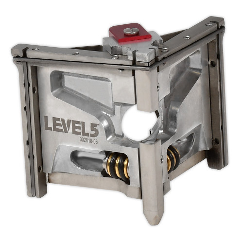 Side View of Level 5 2.5 in. Corner Finisher made from precision-machined, welded stainless steel that is used after an automatic taping tool and corner roller for a professional drywall finish
