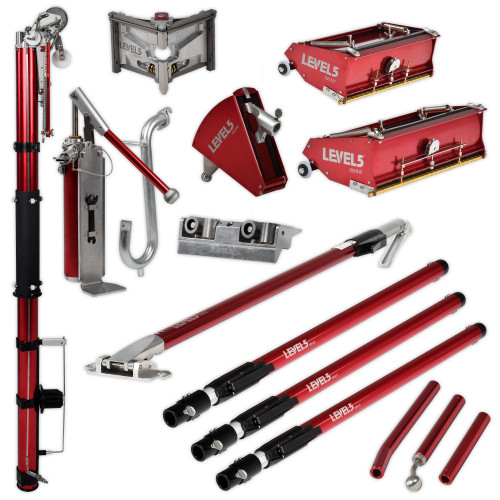 Level 5 Full Set with Extension Handles includes Automatic Taper, Corner Roller and Extension Handle, 3 in. Corner Finisher and Extension Handle, 10 and 12 in. Flat Box and Extension Handle, 7 in. Corner Applicator and Extension Handle, Compound Pump and Filler, Gooseneck