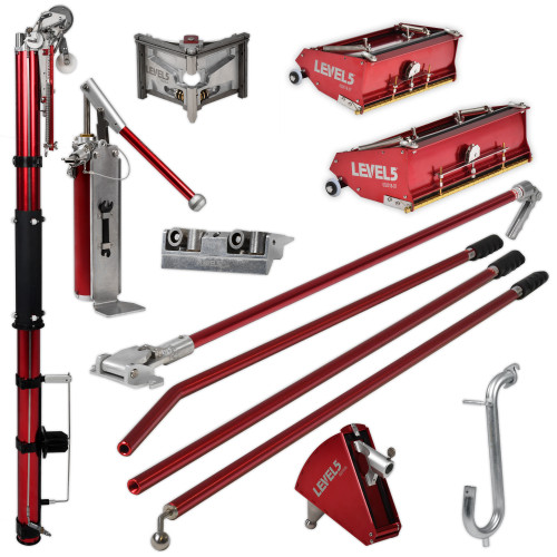 Level 5 Full Set is a complete taping collection which includes Automatic Taper, Corner Roller with Handle, 3 in. Corner Finisher with Handle, 10 and 12 in. Flat Boxes, 42 in. Box Handle, 7 in. Corner Applicator with Handle, Compound Pump with Box Filler Valve and Gooseneck