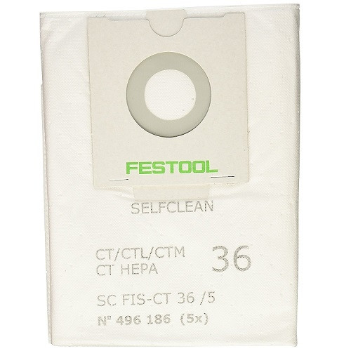 Festool SELFCLEAN Filter Bag For CT 36 5-Pack (FEST-496186)