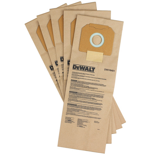 DeWalt DWV9401 5-Pack Filter Bags for DWV012 10-Gallon Dust Extractor (DEWA-DWV9401)