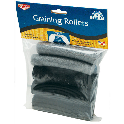 "Advance 3 piece 5"" Graining Roller Kit, Three designs - Fine ring, Coarse Ring, and Porus Design (ADVA-303)"