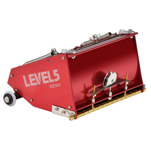 Side view of the Level 5 Classic MEGA Flat Box 7 in. model with shiny corrosion-resistant red finish
