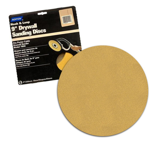 "Norton 120 Grit 9""  Hook & Loop Drywall Sanding Discs for Porter Cable Drywall Sander - 15 Discs per Box (NORN-02464)"