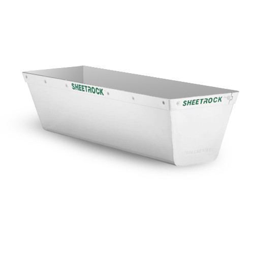 "USG Sheetrock 14"" Matrix Stainless Steel Mud Pan w/Reinforced Band 340403"
