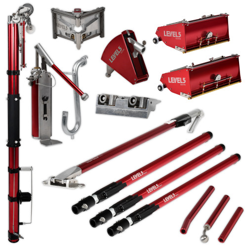 Level 5 MEGA Full Set with Extension Handles includes 7 in. Corner Applicator Box with Extension Handle, Corner Roller with Extension Handle, Gooseneck, 3 in. Corner Finisher with Extension Handle, 7/10 in. MEGA Flat Boxes, Compound Pump with Box Filler Valve, and Automatic Taper