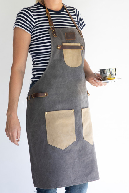 Premium Genuine Leather Strap Canvas Apron
