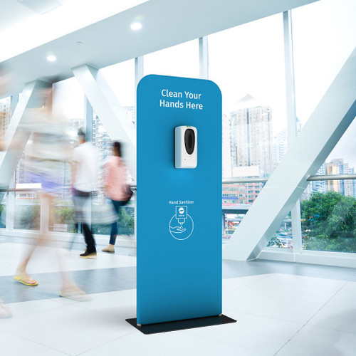 Automatic Hand Sanitiser Dispenser Station, For retail, Tourism, Airports, Offices & other commercial or Public spaces. Portable Display Stand and Brandable Message - Blue