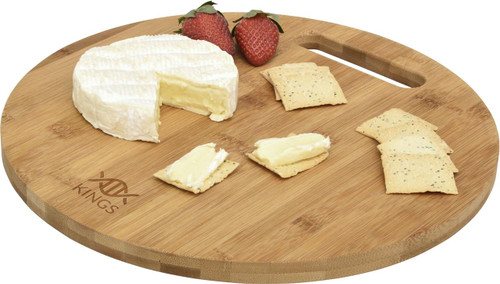 Custom branded share plate from Supply Crew. Round shaped 'eco-friendly' bamboo cheese board