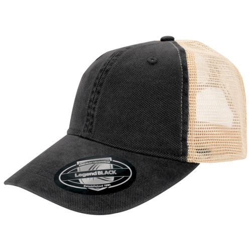 Vintage Unstructured mesh back cap in Black - Custom branded by supply crew