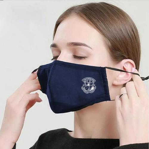 Navy Premium 4 layer cotton mask custom branded by Supply Crew
