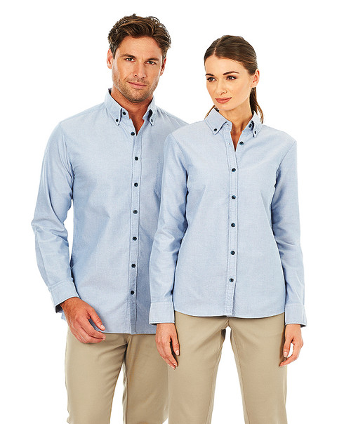 Ladies Long Sleeve Garment Washed Oxford Shirt