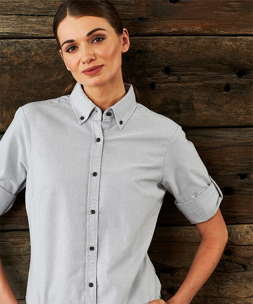 Ladies 3\4 Sleeve Garment Washed Oxford Shirt