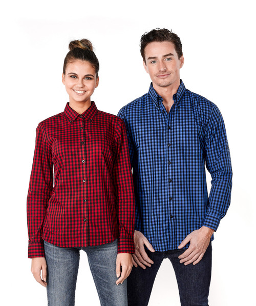 Ladies Long Sleeve Plaid Check Shirt