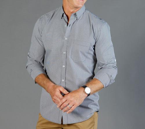 Gingham Mens Long Sleeve Casual Slim Fit Shirt